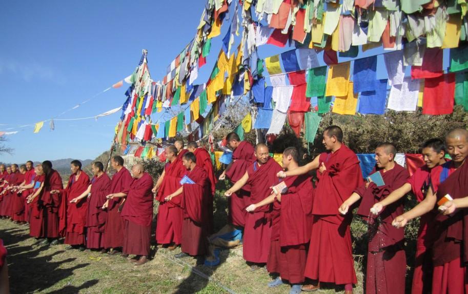 Monks performing lha sang